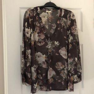 Joie 100% Silk floral blouse Sz L